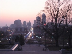 Des Moines downtown from the capitol steps