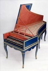 harpsichord blue double-keyboard