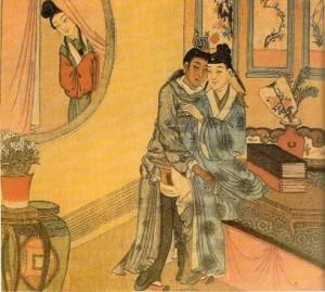 Qing dynasty woman spying on male lovers