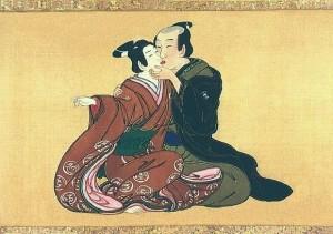 samurai kisses kabuki onnagata Miyagawa Issho c. 1750